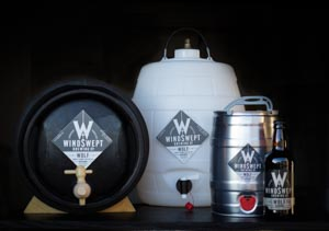 Windswept Brewing Wolf Beer in mini keg, barrel, pin and bottle
