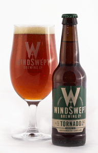 Windswept brewing Tornado, with beer poured into glass